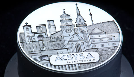 3D laser engraving and frosting of a coin die