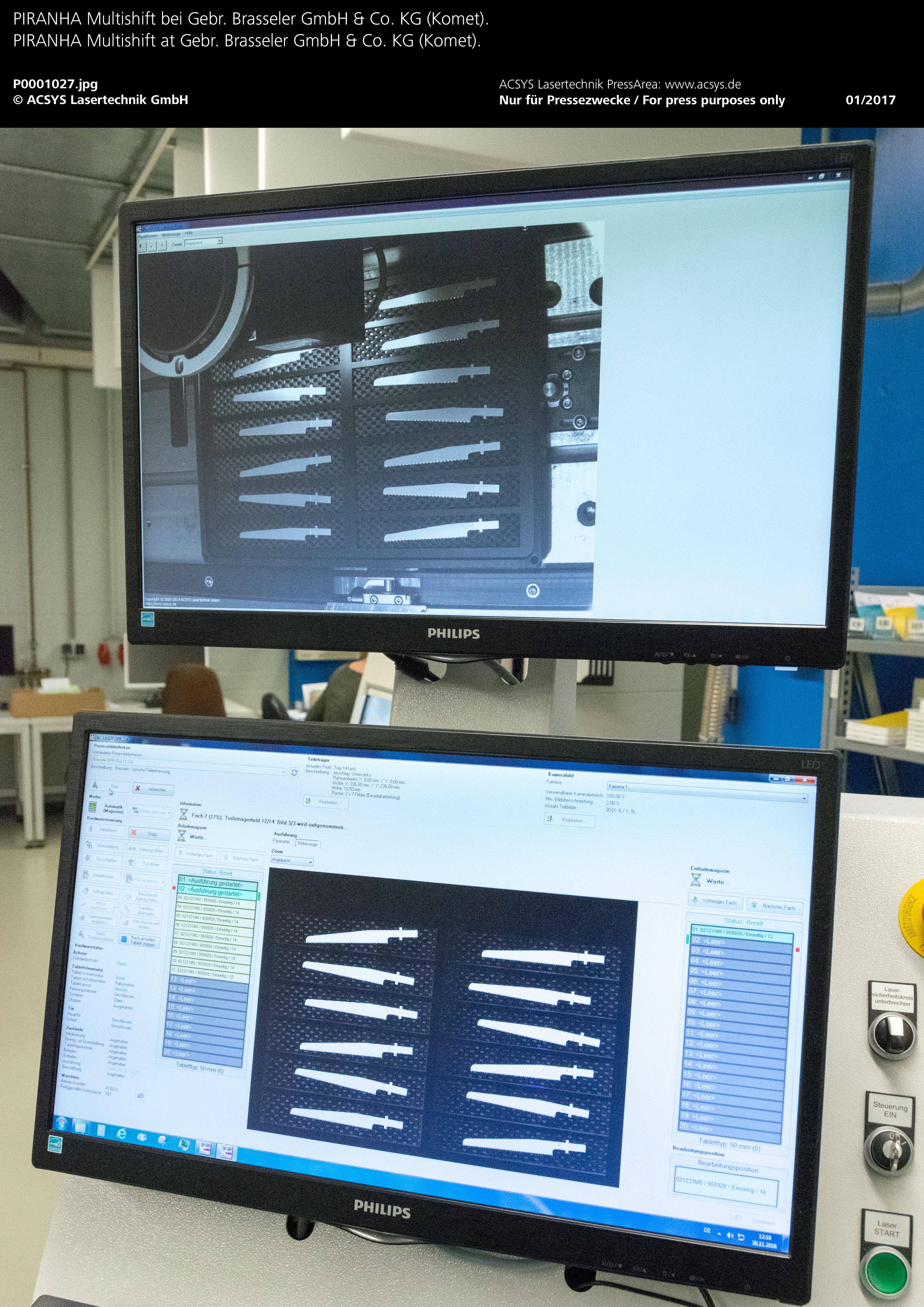 PIRANHA Multishift von ACSYS – Vollautomatische Konturerkennung mittels hochauflösendem Kamerasystem.