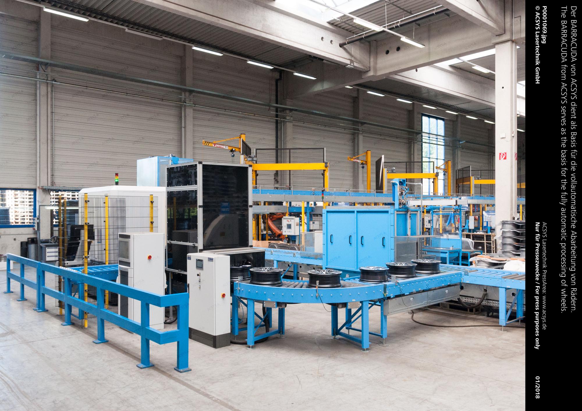 Der BARRACUDA von ACSYS dient als Basis für die vollautomatische Abarbeitung von Rädern.