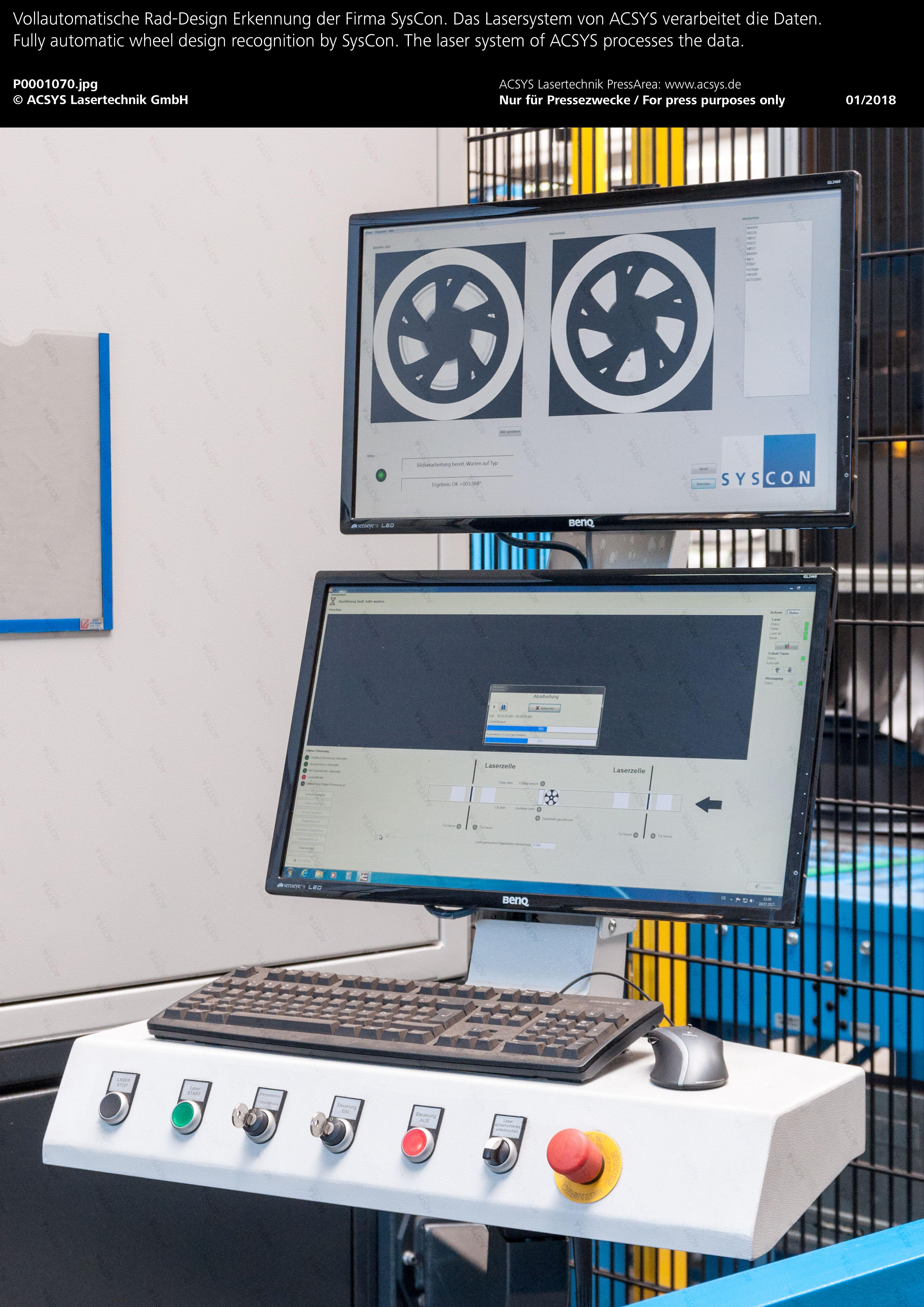 Vollautomatische Rad-Design Erkennung der Firma SysCon. Das Lasersystem von ACSYS verarbeitet die Daten.